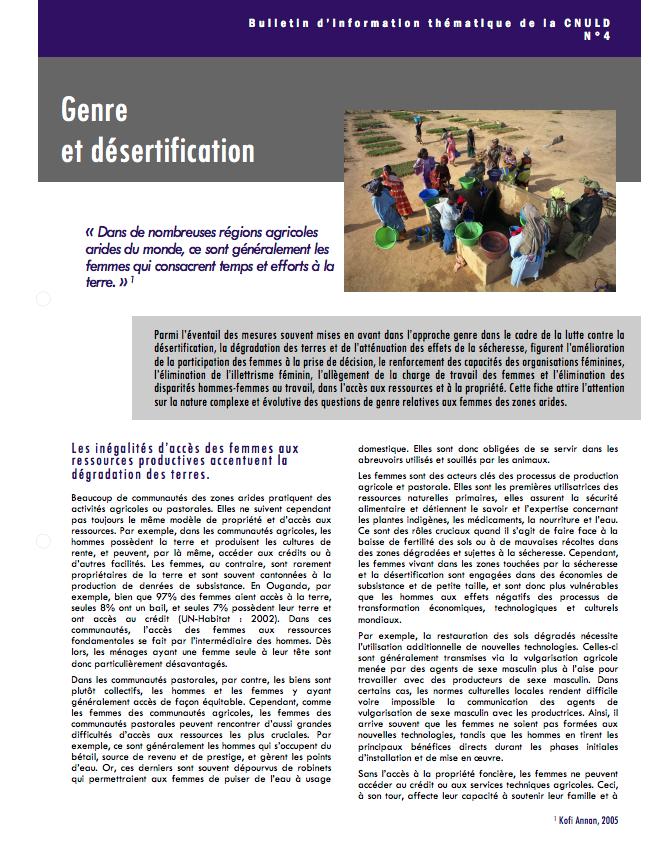 Genre et désertification cover image