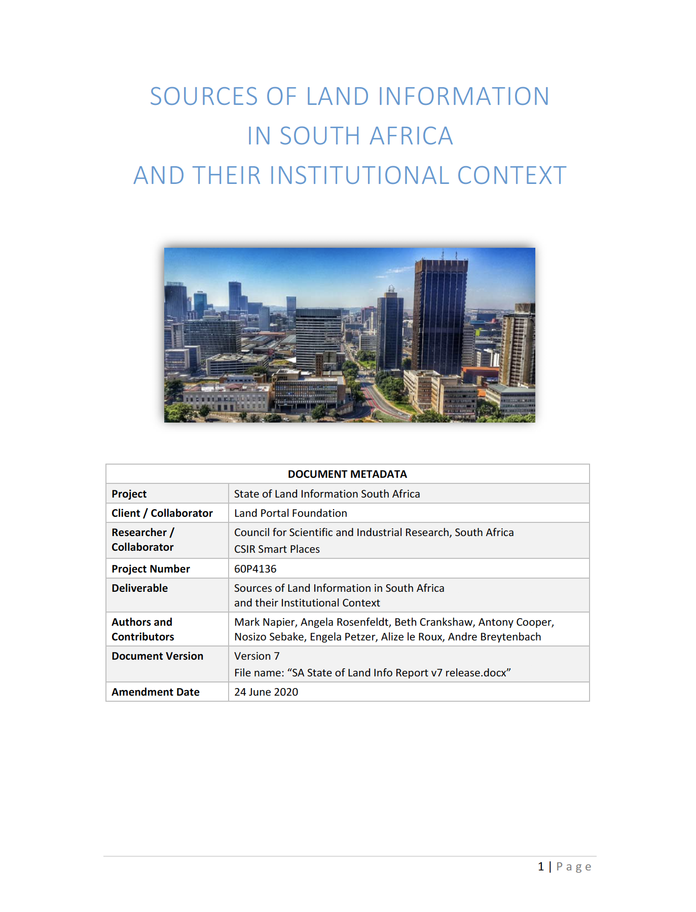Sources of Land Information  in South Africa  and their Institutional Context