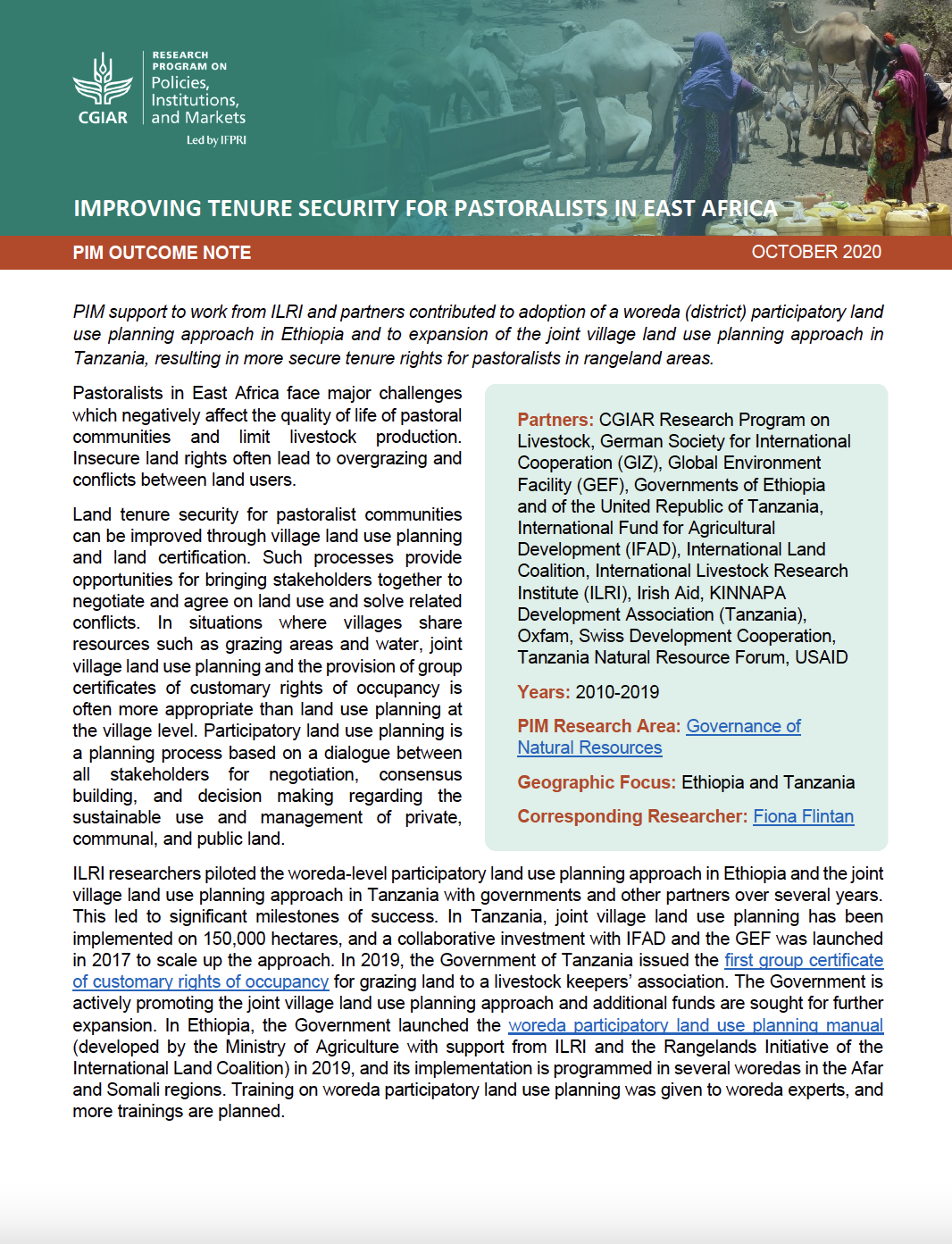Improving tenure security for pastoralists in East Africa