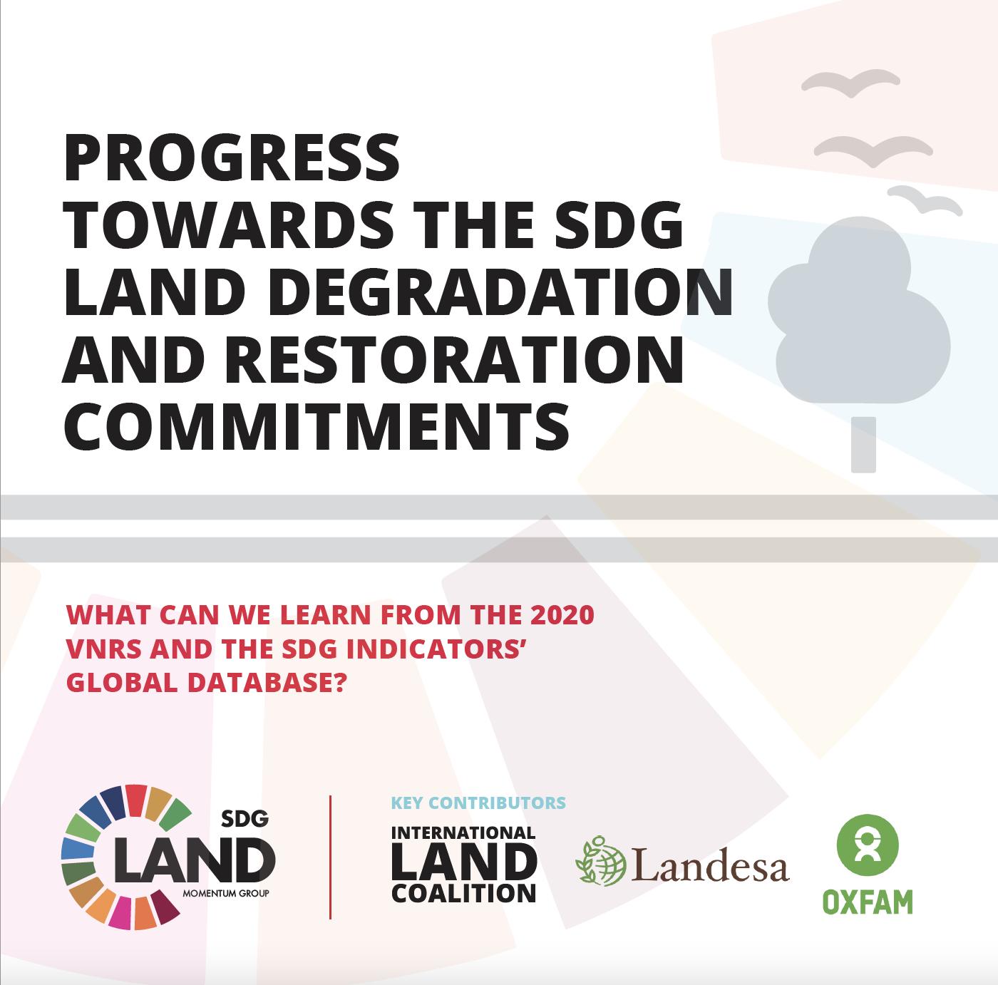 PROGRESS TOWARDS THE SDG LAND DEGRADATION AND RESTORATION COMMITMENTS