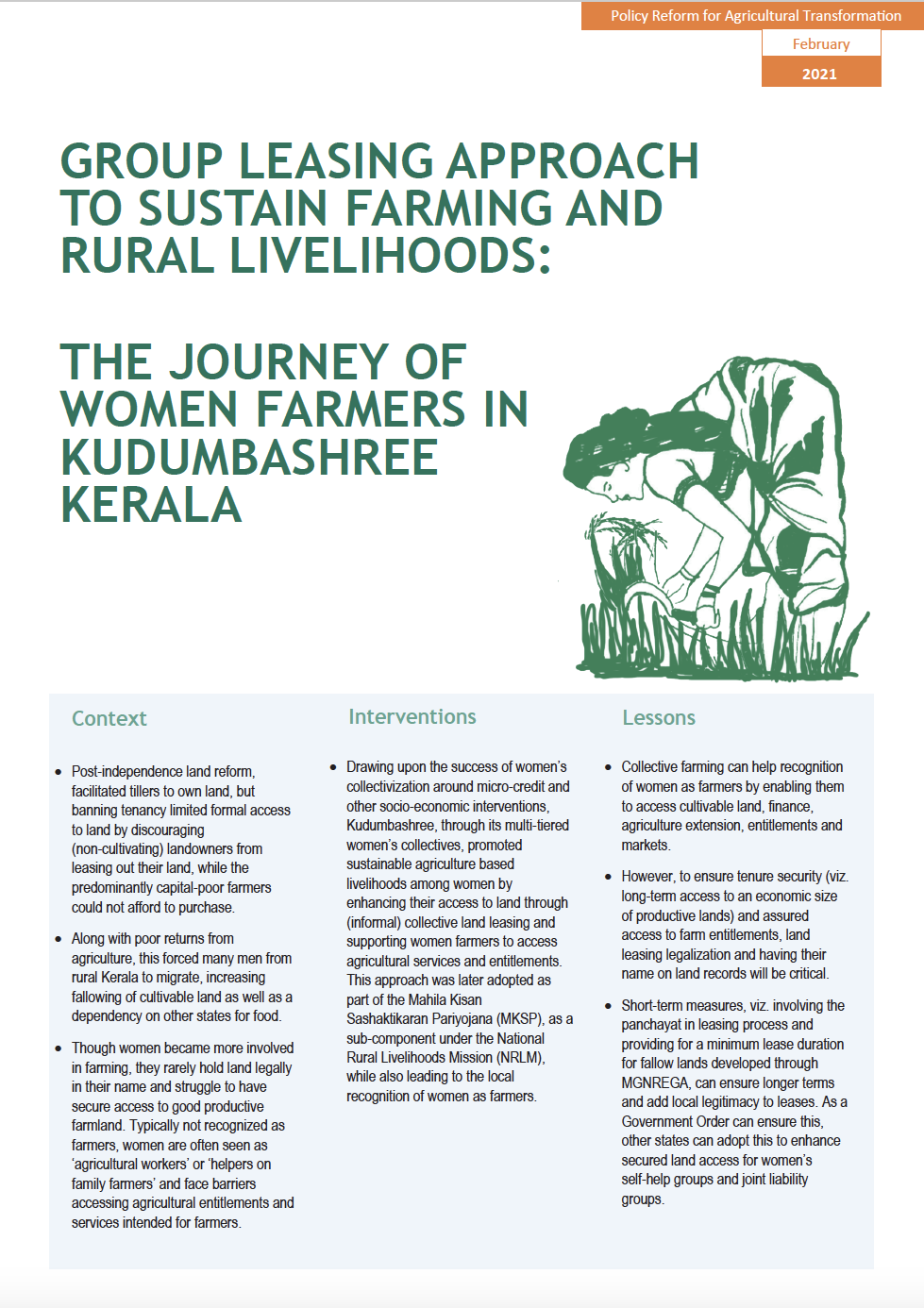 Group Leasing Approach to Sustain Farming and Rural Livelihoods