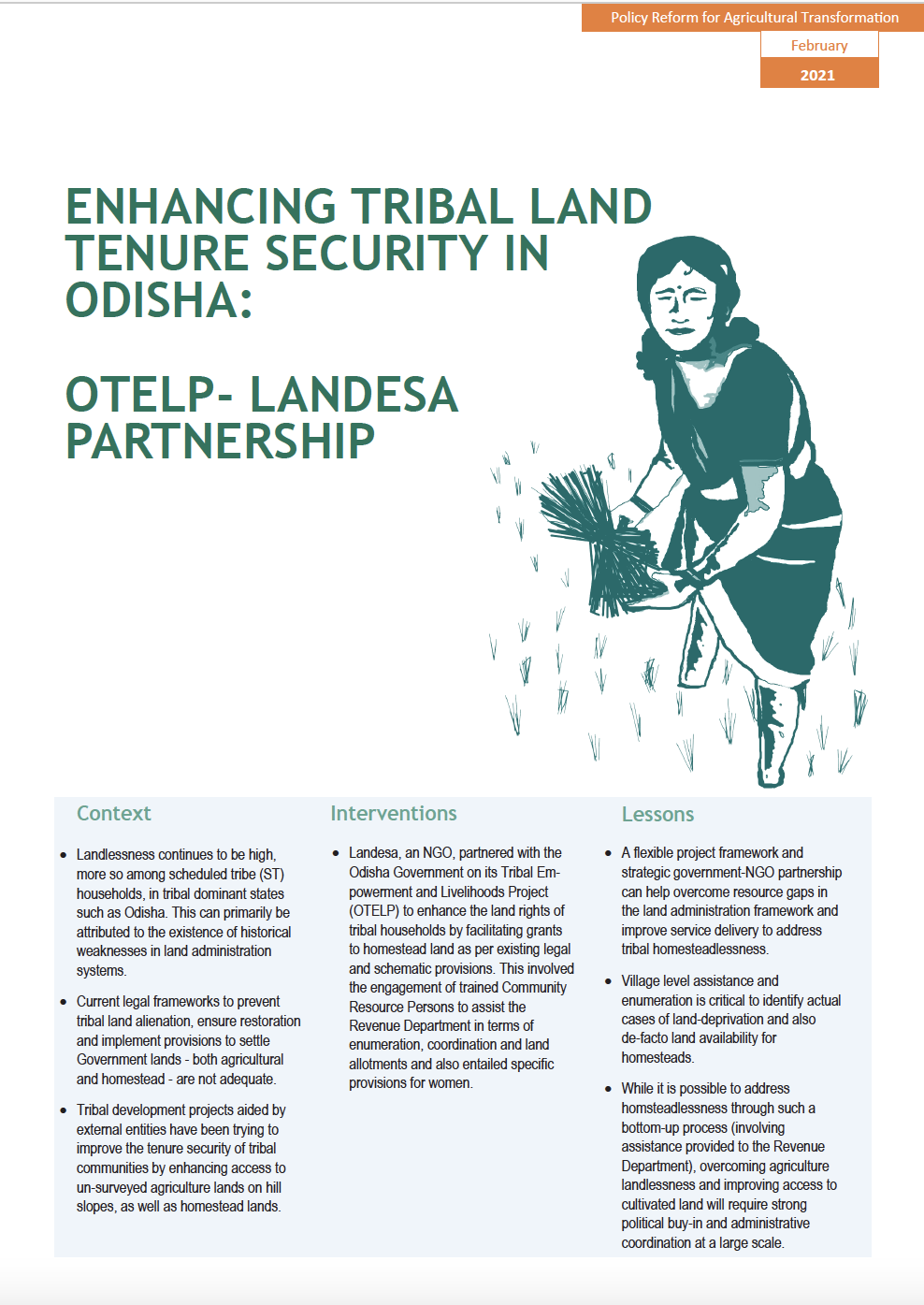 Enhancing Tribal Land Tenure Security in Odisha