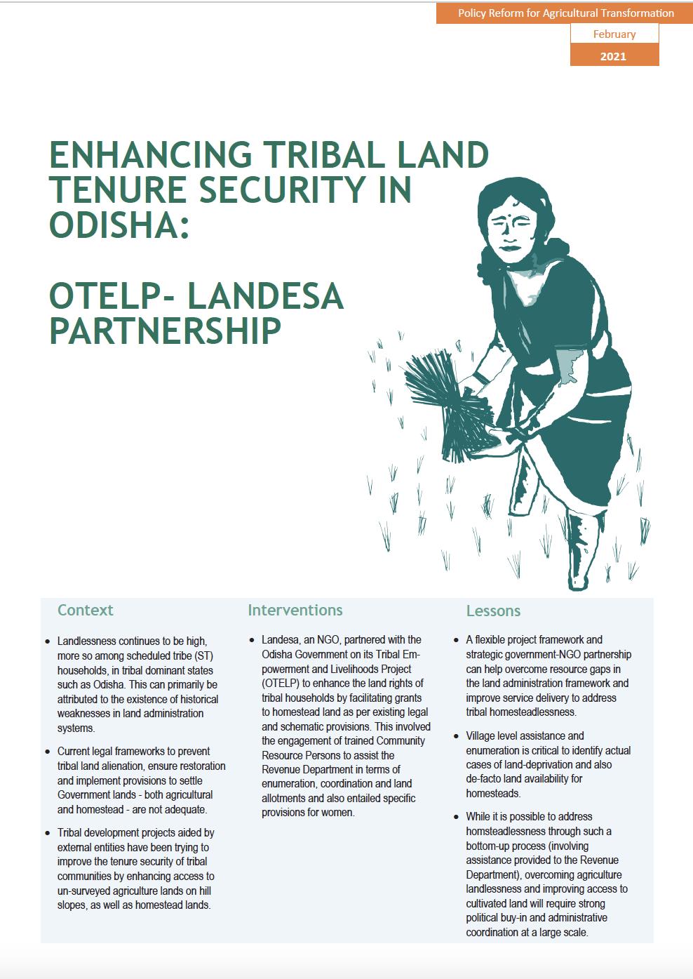 Enhancing Tribal Land Tenure Security in Odisha