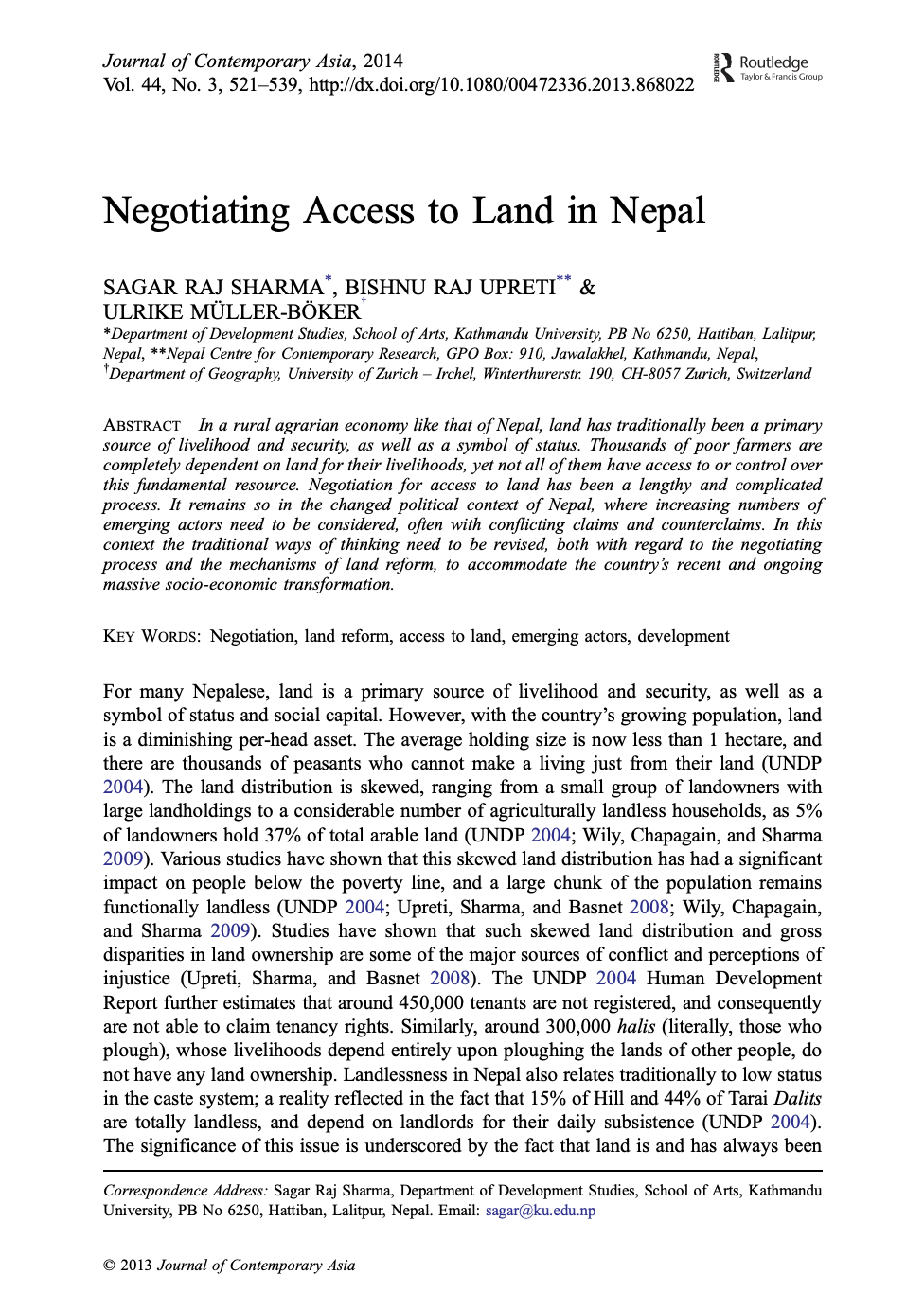 Negotiating Access to Land in Nepal