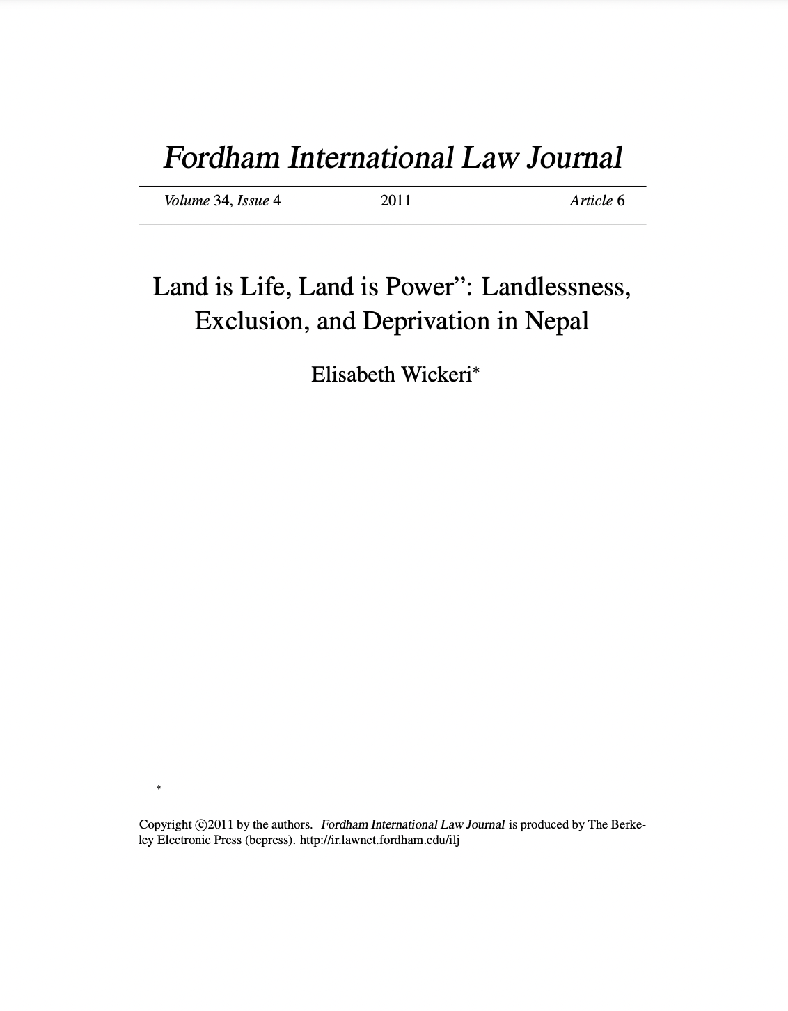 """Land is Life, Land is Power"""": Landlessness, Exclusion, and Deprivation in Nepal"""