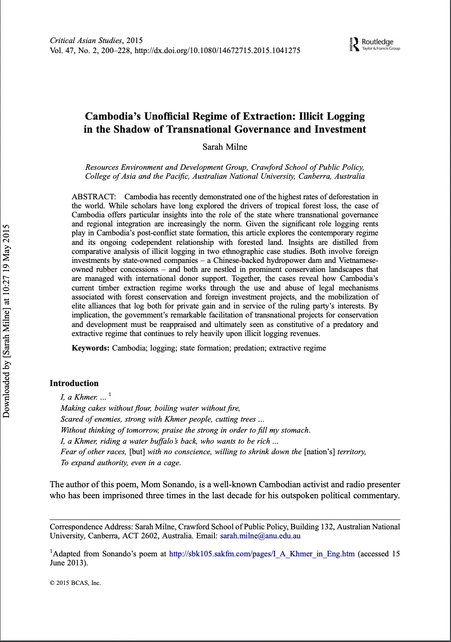 Cambodia's Unofficial Regime of Extraction: Illicit Logging in the Shadow of Transnational Governanc
