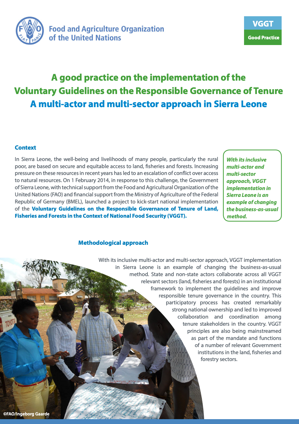 Screenshot 2019-02-14 at 14.01.45.A good practice on the implementation of the Voluntary Guidelines on the Responsible Governance of Tenure: A multi-actor and multi-sector approach in Sierra Leone cover image