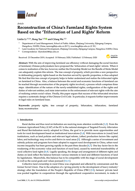 Reconstruction of China's Farmland Rights System Based on the 'Trifurcation of Land Rights' Reform