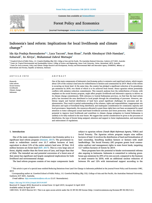 Indonesia's land reform: Implications for local livelihoods and climate change