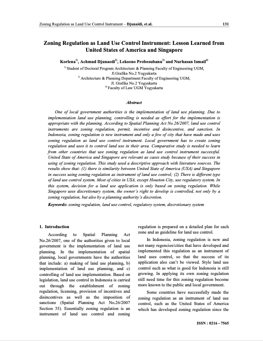 Zoning Regulation as Land Use Control Instrument