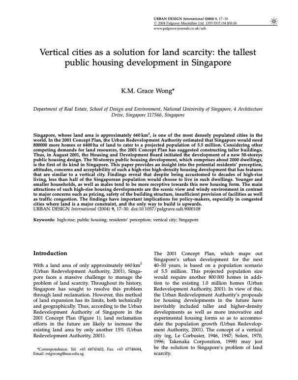 Vertical cities as a solution for land scarcity: the tallest public housing development in Singapore