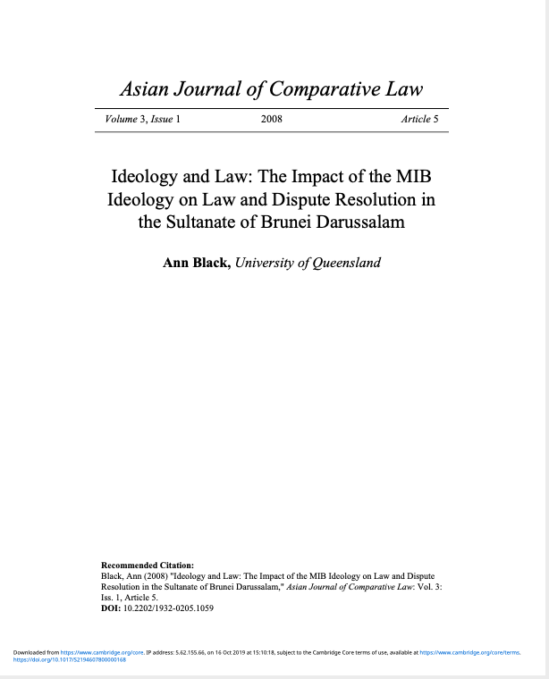 Ideology and Law: The Impact of the MIB Ideology on Law and Dispute Resolution in the Sultanate of Brunei Darussalam