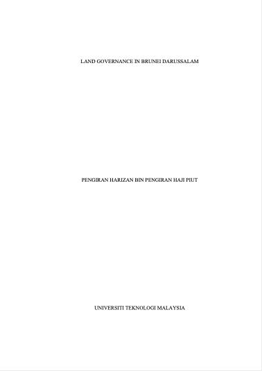 Land governance in Brunei Darussalam