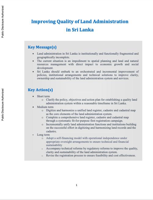 Improving Quality of Land Administration in Sri Lanka