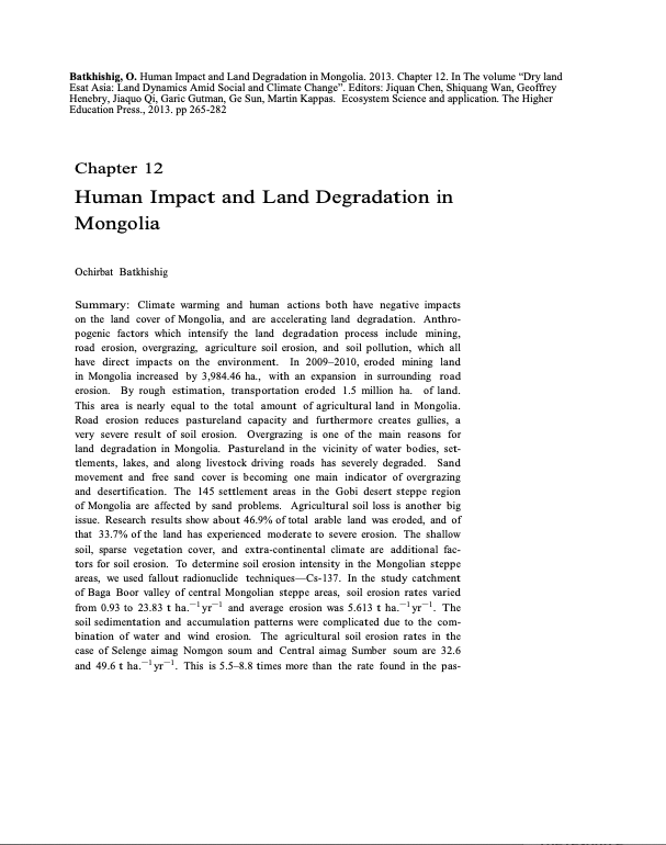 Human Impact and Land Degradation in Mongolia