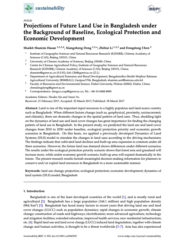Projections of Future Land Use in Bangladesh under the Background of Baseline, Ecological Protection and Economic Development