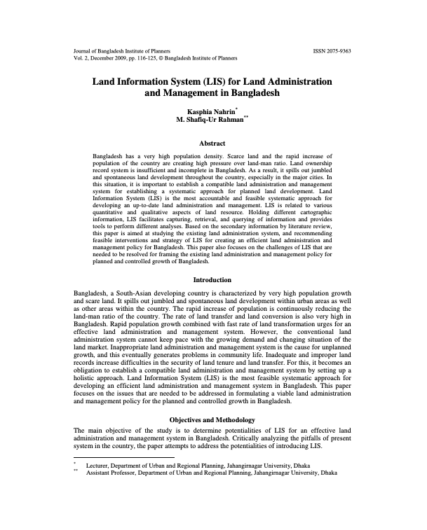 Land Information System (LIS) for Land Administration and Management in Bangladesh