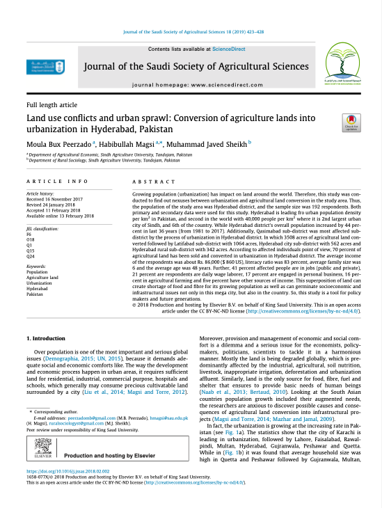 Land use conflicts and urban sprawl: Conversion of agriculture lands into urbanization in Hyderabad, Pakistan