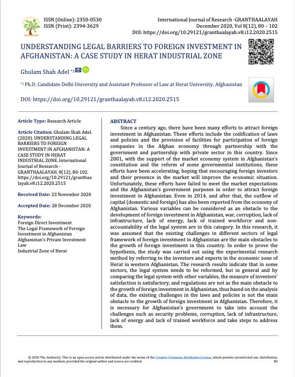Understanding Legal Barriers To Foreign Investment In Afghanistan