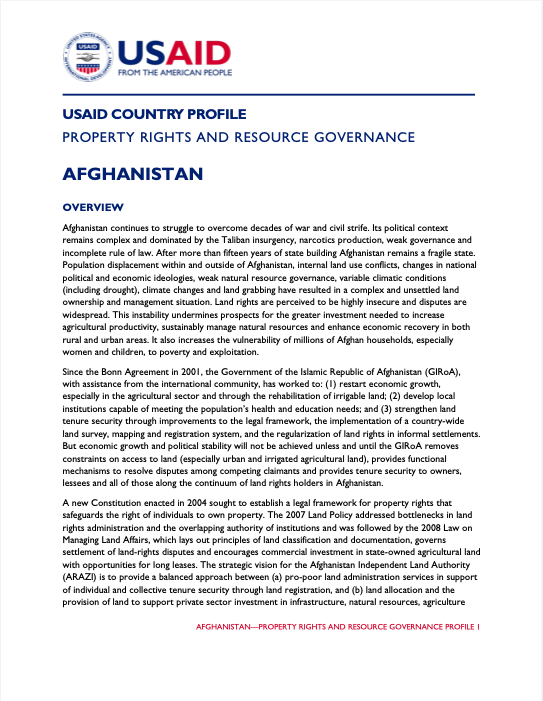 Property Rights and Resource Governance: Afghanistan