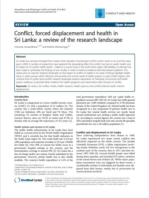 Conflict, forced displacement and health in Sri Lanka: a review of the research landscape