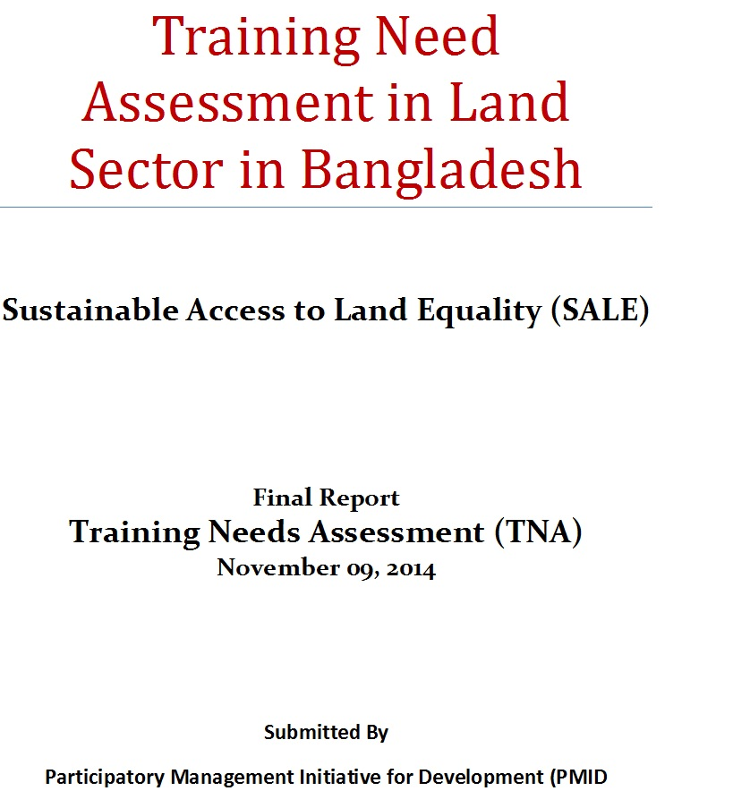 Training Needs Assessment In Land Sector In Bangladesh  Land Portal