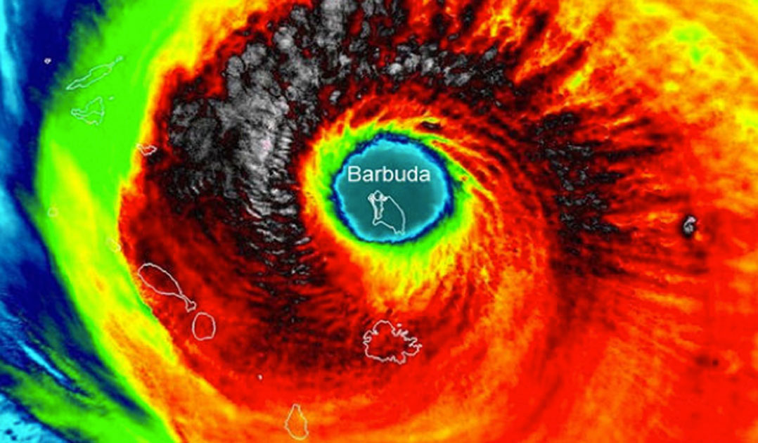 Hurricane Irma centered over the island of Barbuda.