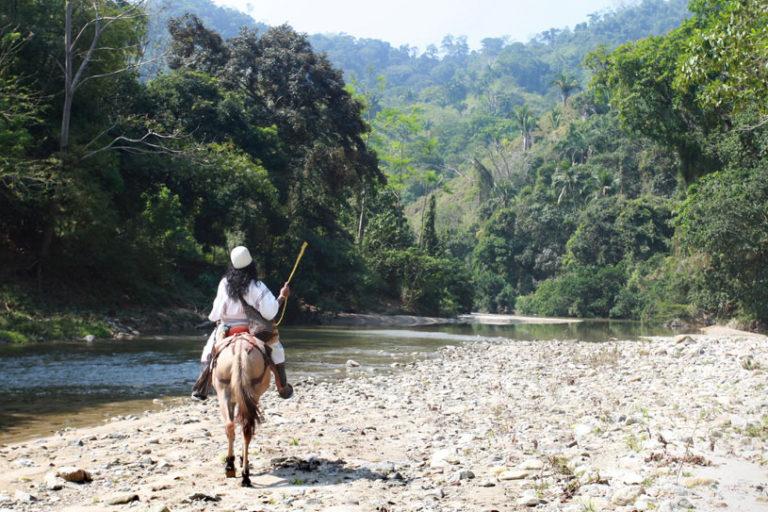 Líder indígena arhuaco en una antigua zona productora de coca de Colombia.