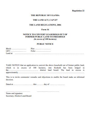 THE LAND REGULATIONS, 2004 Form 16