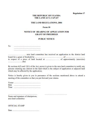 THE LAND REGULATIONS, 2004 Form 10