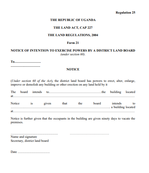 THE LAND REGULATIONS, 2004 Form 21
