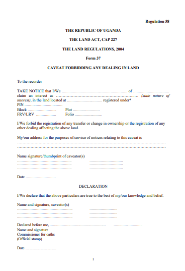 THE LAND REGULATIONS, 2004 Form 37