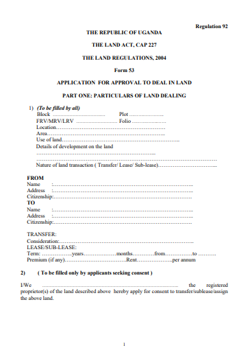 THE LAND REGULATIONS, 2004 Form 53