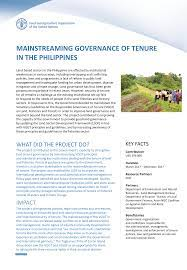 mainstreaming governance - philippines-fao