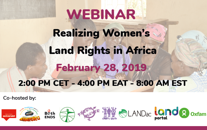 Webinar: Realizing women's land rights in Africa