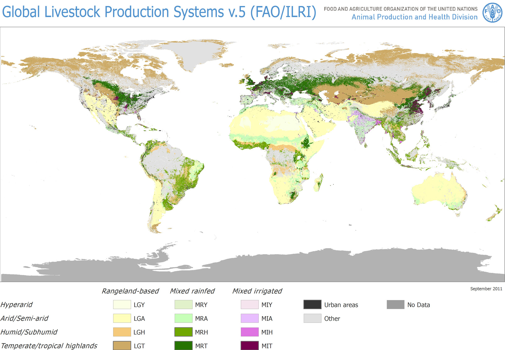 Agriculture World Map.Fao Ilri Global Livestock Production Systems In Rangelands Land