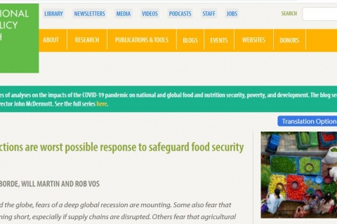 IFPRI Blog Covid-19 and trade restrictions