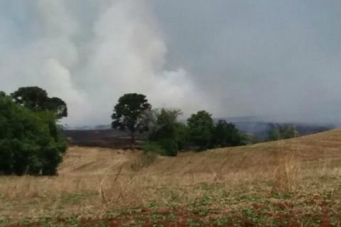 Indígenas atearam fogo em lavoura de trigo e em pastagens secas em Sananduva (Foto: Arquivo Pessoal)