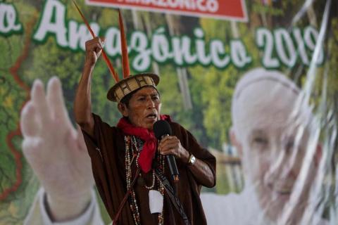 Ashaninka David Barbosa addresses a meeting by Amazonian indigenous in Puerto Maldonado, Madre de Dios province, Peru, Thursday, Jan. 18, 2018, one day before Pope Francis arrives to Peru's Amazon. (AP Photo/Rodrigo Abd) The Associated Press