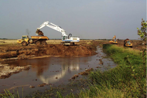 Construction works in Skjern River nature restoration project, Denmark
