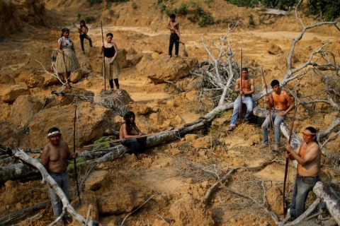 People from the Mura tribe are pictured in a file photo at a deforested area in unmarked Indigenous