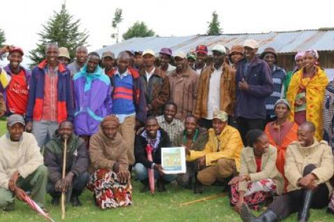 Meeting of the Ogiek community of Sasimwani to review their draft by-laws (Photo: Namati / Jaron Vogelsang)
