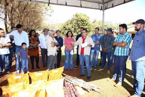 Durante a manhã desta segunda-feira a prefeita participou do plantio de mudas de mandioca em propriedade da aldeia