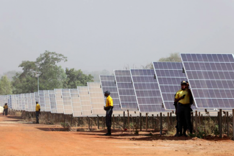 Solar panels are seen during the inauguration ceremony of the solar energy power plant in Zaktubi,