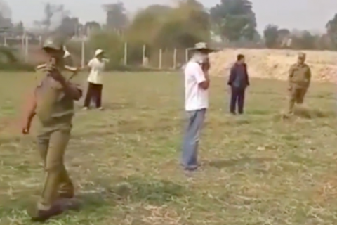 This is a screenshot of a video showing a land dispute protest in Vientiane, Laos. Two villagers were arrested after it was posted on social media March 16, 2020.