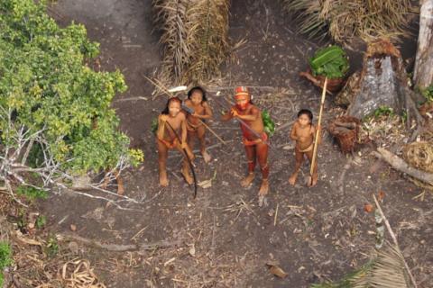 Índios isolados, que residem na fronteira entre Acre e Peru (Foto: Gleilson Miranda/Secom)