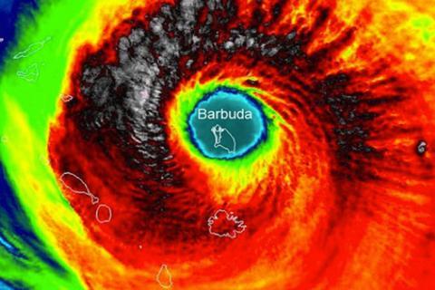 Hurricane Irma centered over the island of Barbuda.