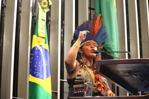 Coordenadora-executiva da Articulação dos Povos Indígenas do Brasil (Apib), Sônia é uma das principais vozes do movimento indígena nacional; Foto: Equipe AZMINA