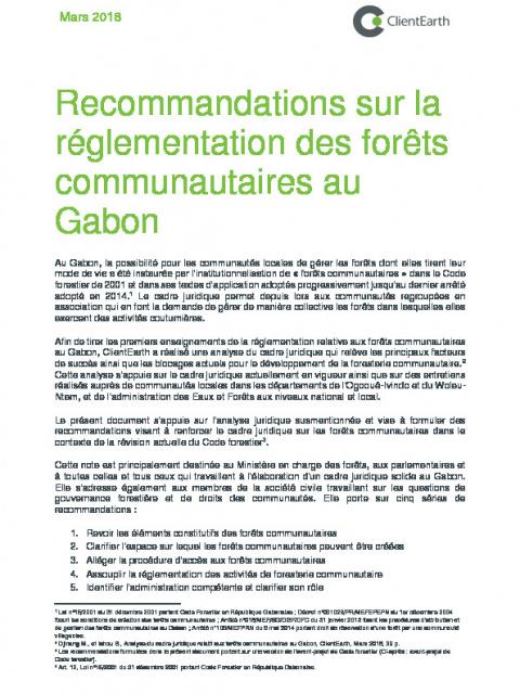 Recommandations sur la réglementation des forêts communautaires au Gabon