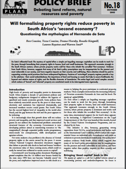 Will formalising property rights reduce poverty in South Africa's 'second economy'?